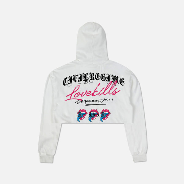 Love Kills (Cropped) Hoodie in White