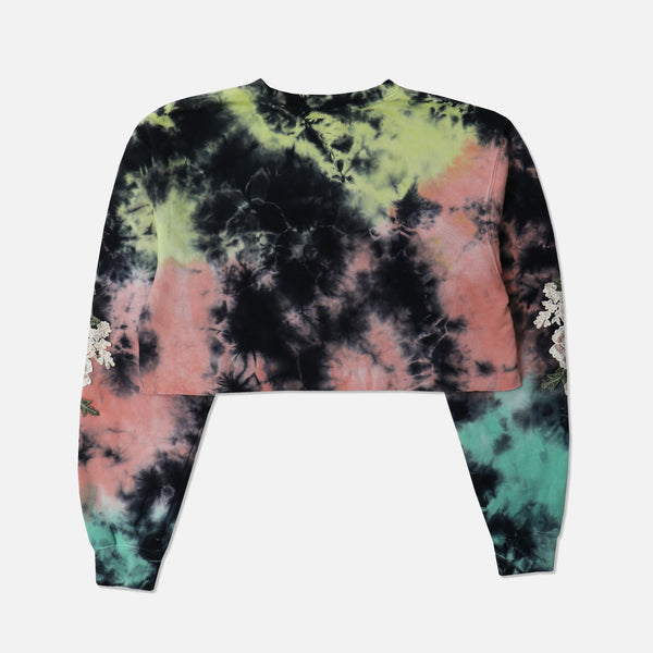 Blanco Roses (Cropped) Crewneck Sweater in Lightning
