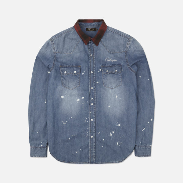 Wild West Denim Button Up In Indigo Bleach