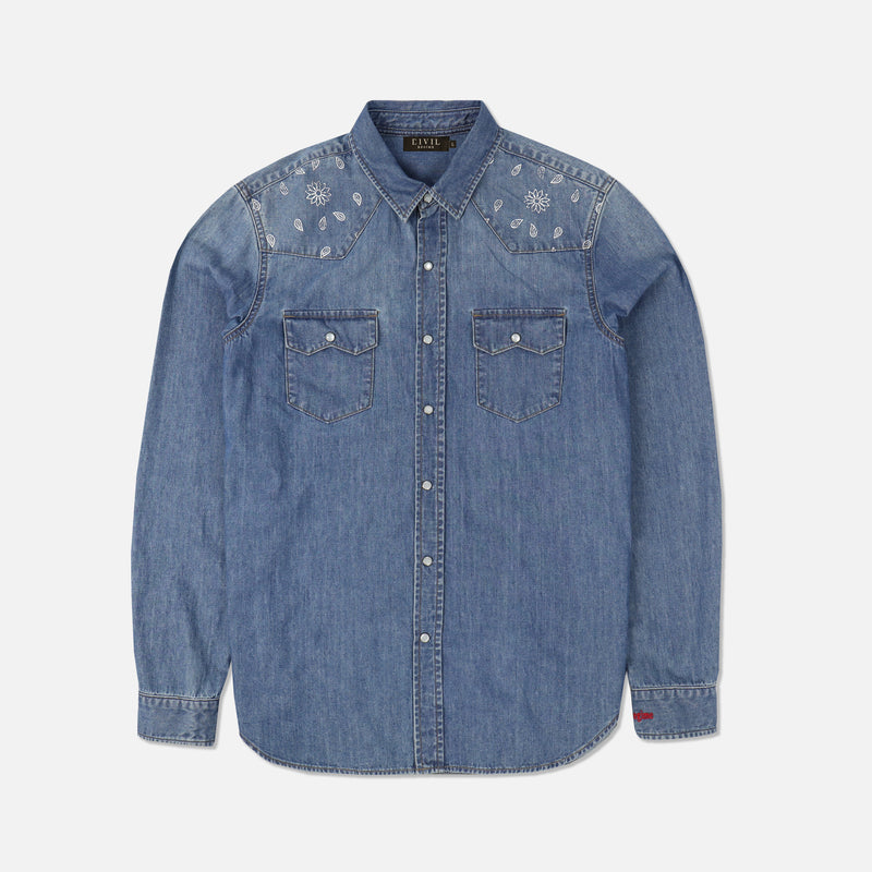Wild West Denim Button Up in Indigo