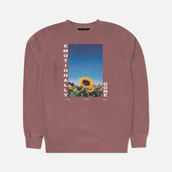 Emotionally Gone Crewneck in Pigment Maroon