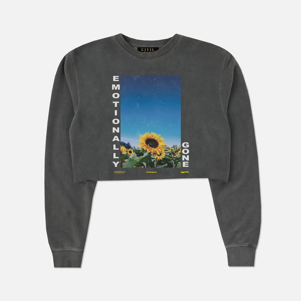 Emotionally Gone (Cropped) Crewneck in Pigment Gray