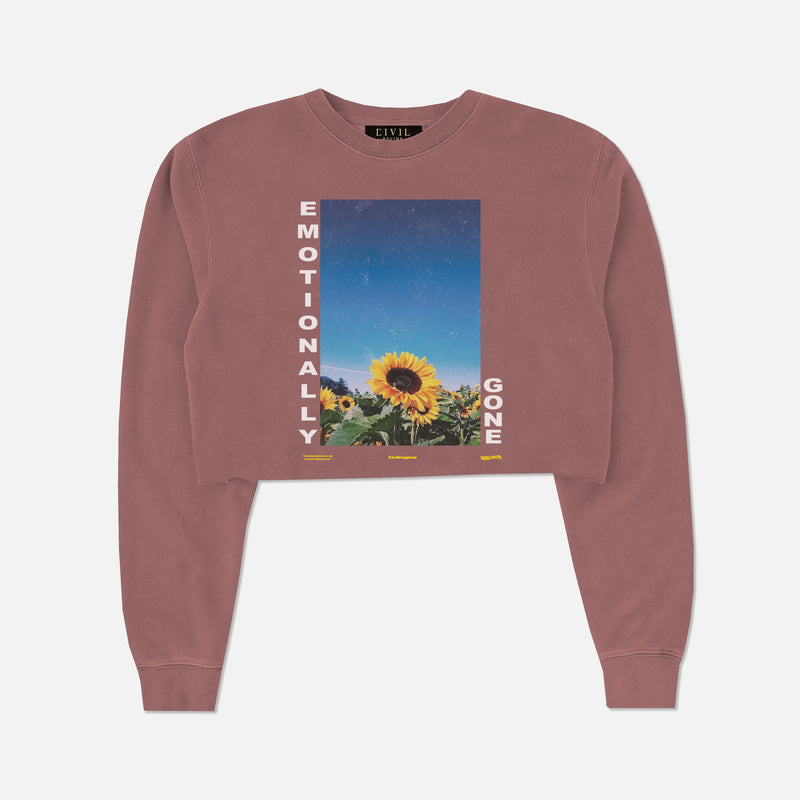 Emotionally Gone (Cropped) Crewneck in Pigment Maroon