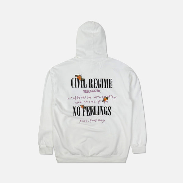 No Feelings Hoodie in White