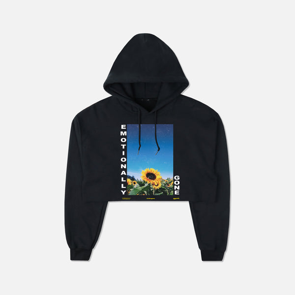 Emotionally Gone (Cropped) Hoodie in Black