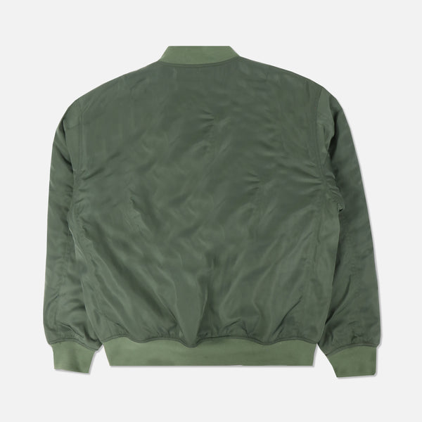 Rebellion Sherpa Bomber Jacket in Olive