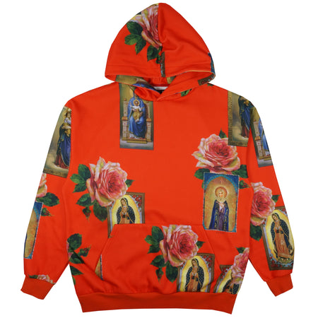 Holy Floral Pullover Hoodie In Red