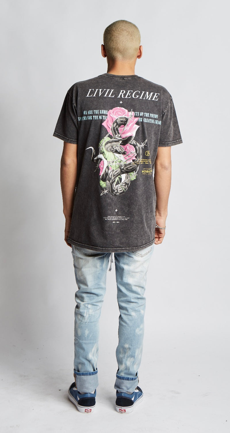 Snake Pit Tee in Stone Black