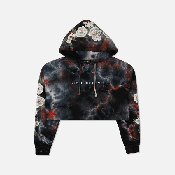 Blanco Roses (Cropped) Hoodie in Blessed Ashes