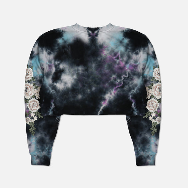 Blanco Roses (Cropped) Crewneck Sweater in Thunder Wash