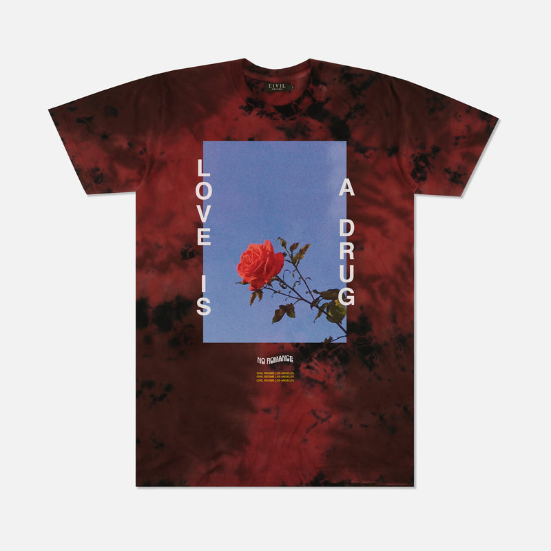 Love Is A Drug Tee in Lava