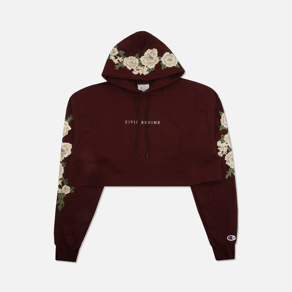 Champion Blanco Roses (Cropped) Hoodie in Maroon