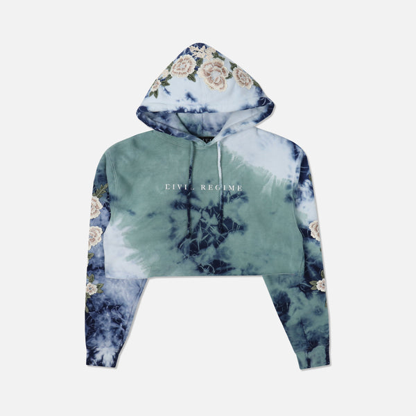 Blanco Roses (Cropped) Hoodie in Ocean (Releasing 8/16/20)