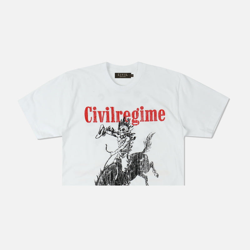 Psychedelic Rodeo V2 (Crop) Tee in White