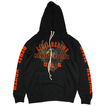 Rebel Eagle Rhinestone Hoodie in Black