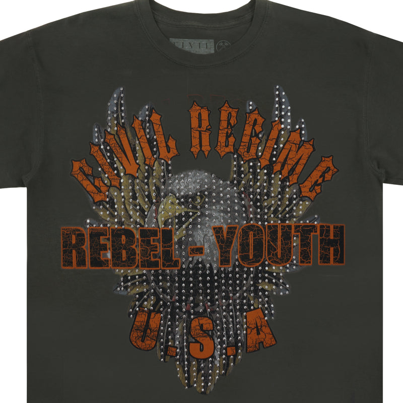 Rebel Eagle Rhinestone Tee in Pigment Gray