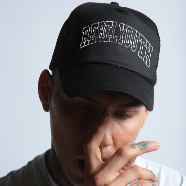 Rebel Youth Trucker Hat in Black