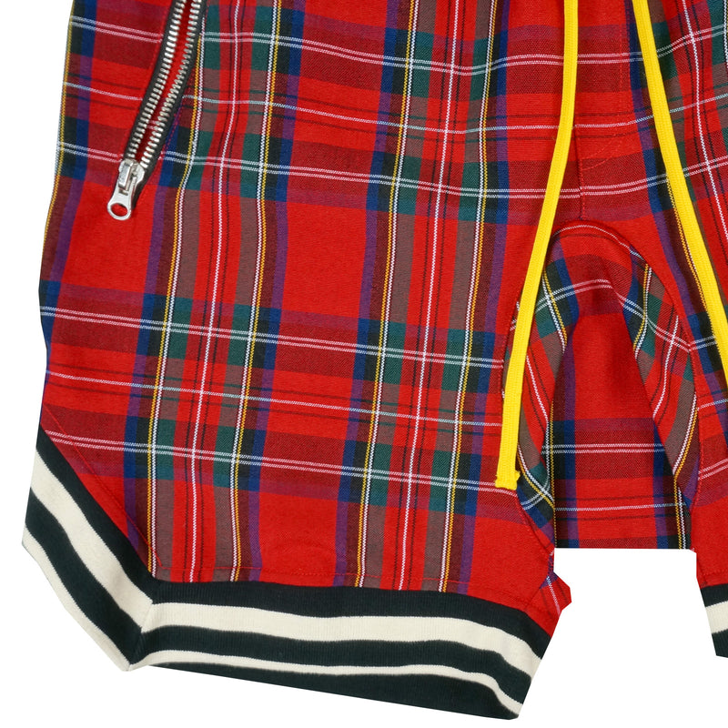 Plaid BBall Shorts in Red