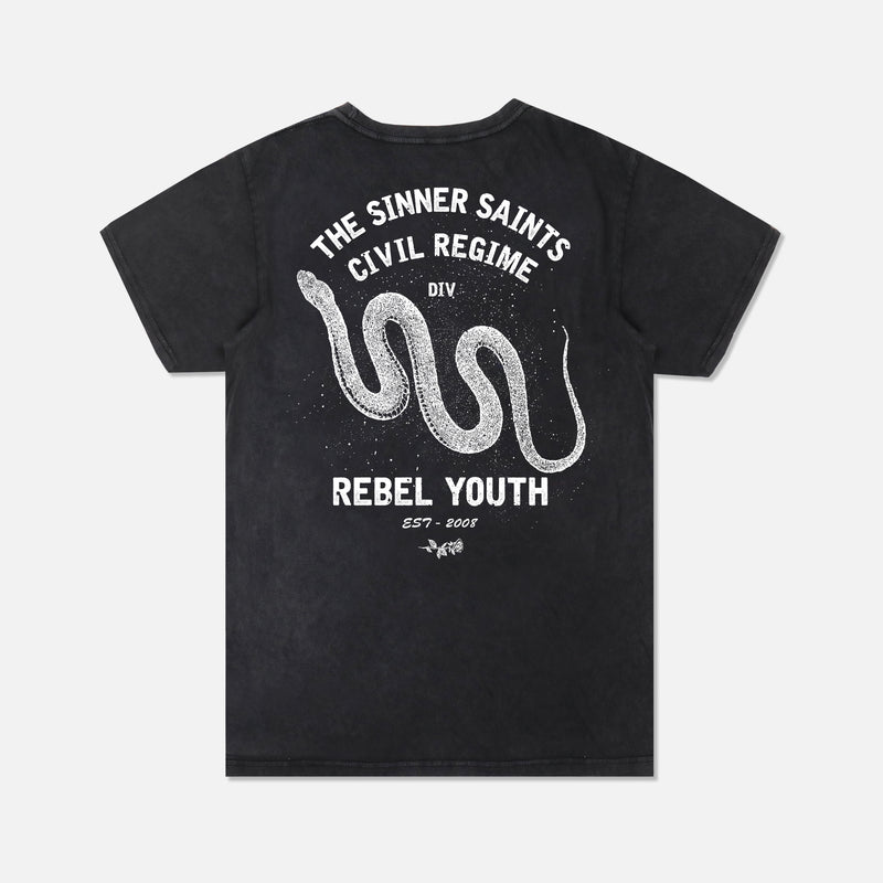 Sinner Division Tee in Vintage Black