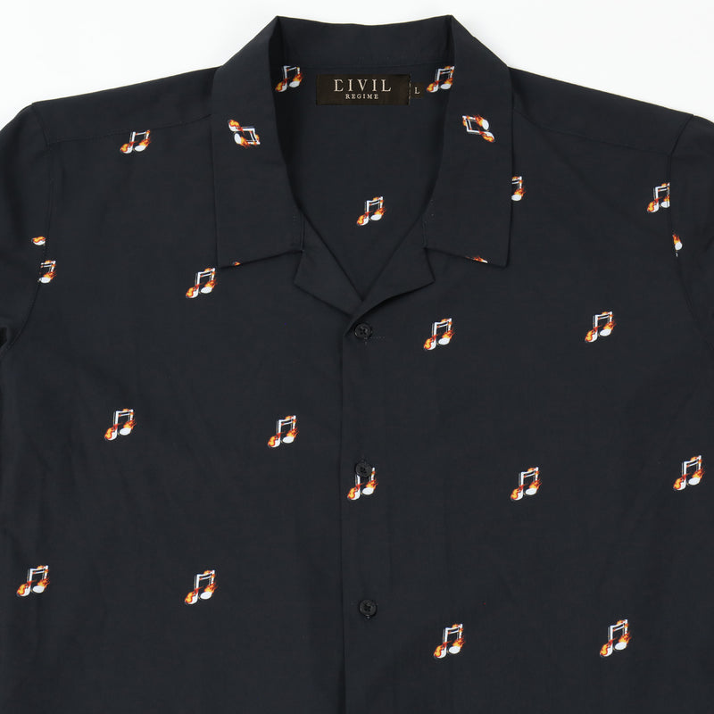 Sounds Of Chaos Button Up in Black