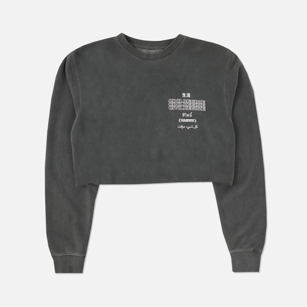 Temporary (Crop) Crewneck in Pigment Gray