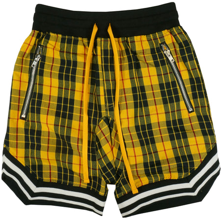 Plaid BBall Shorts in Yellow