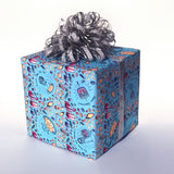 Dreidels in Space - Dreidels in Space, Eight Days of Oy Wrapping Paper - Eight Days of Oy, Eight Days of Oy Wrapping Paper - [It's a Hanukkah Miracle], Wrapping Paper - Jewish Wrapping Paper, Wrapping Paper - Hanukkah Wrapping Paper