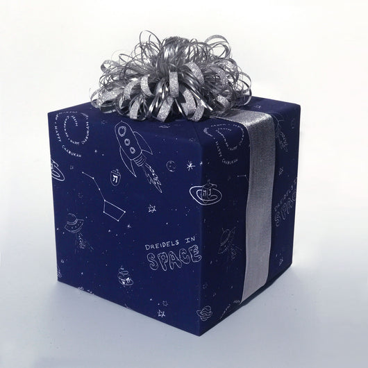 Dreidels in Space - Dreidels in Space, Dreidels in Space Wrapping Paper - Eight Days of Oy, Dreidels in Space Wrapping Paper - [It's a Hanukkah Miracle], Wrapping Paper - Jewish Wrapping Paper, Wrapping Paper - Hanukkah Wrapping Paper
