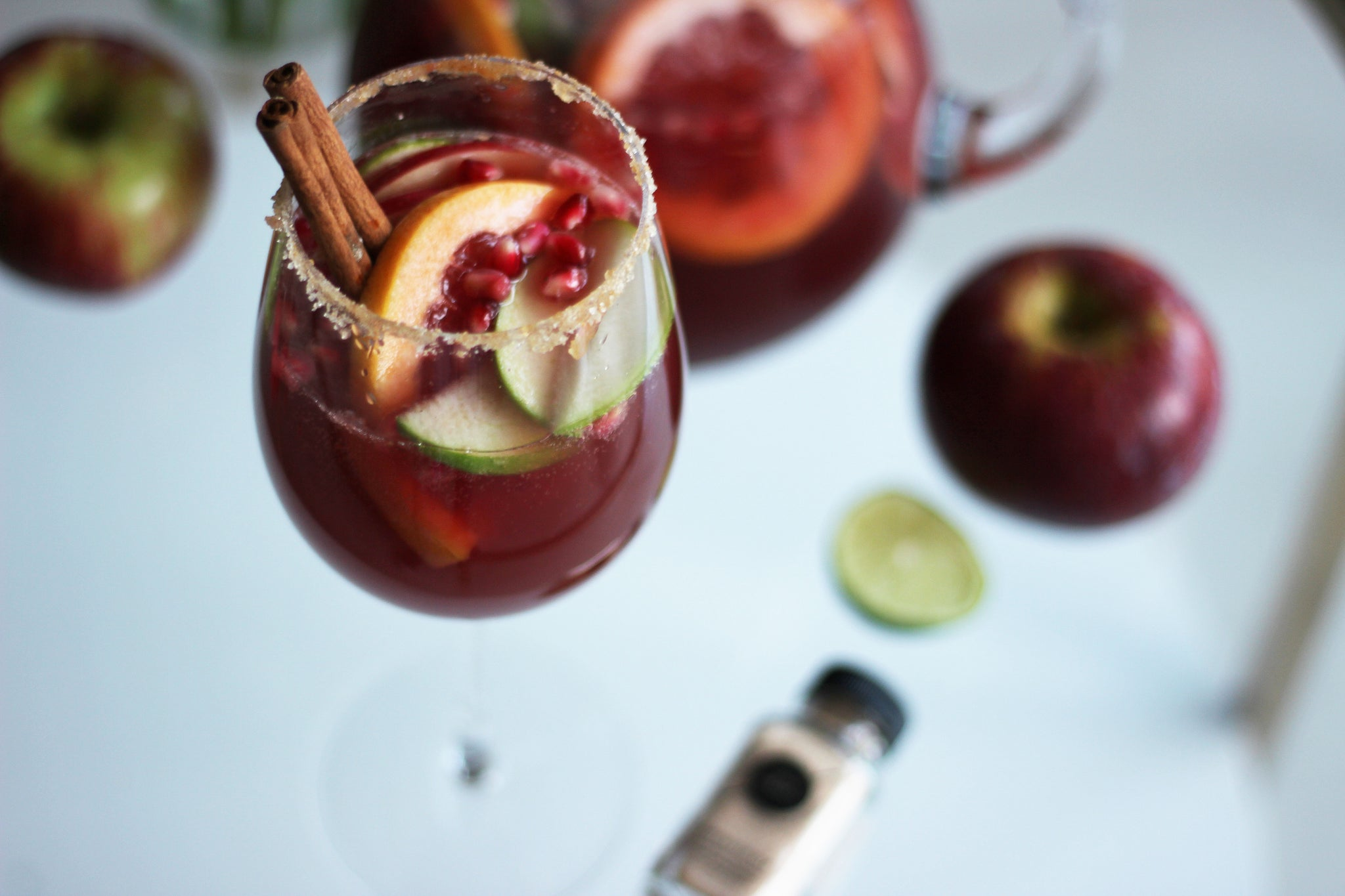 salty paloma pomegranate apple sangria mocktail cocktail recipe
