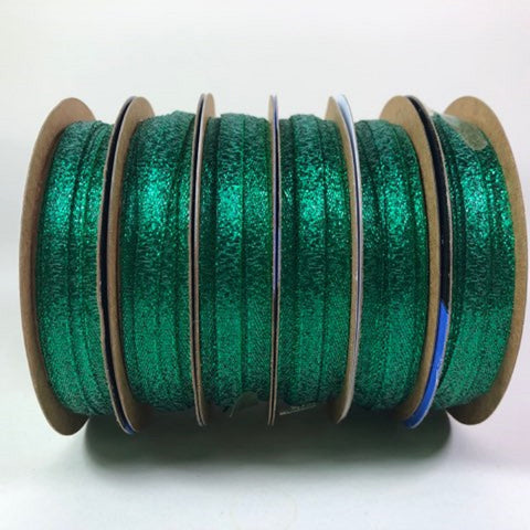 Offray Ribbon Metallic Polyester Green L: 5yds, 4.57m W: 1/4, 7mm 6 Rolls