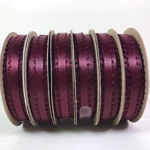 "Holiday Time Walmart Ribbon Burgundy 18 feet Craft Ribbon 3/16"" wide 100% Polyester 6 Rolls"