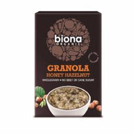 granola organic, honey and hazelnuts, no sugar added, organic oats, sunflower seeds
