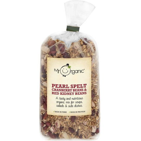 Organic Pearl Spelt, Cranberry Beans, Red Kidney Beans 500g - Green Food Direct