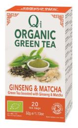 Organic Fairtade Green Tea, Ginseng & Matcha Tea 20 bags - 32g - Green Food Direct