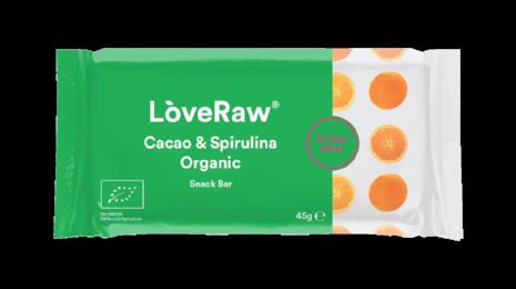 Cacao & Spirulina Organic Snack Bar, LoveRaw 45g - Green Food Direct