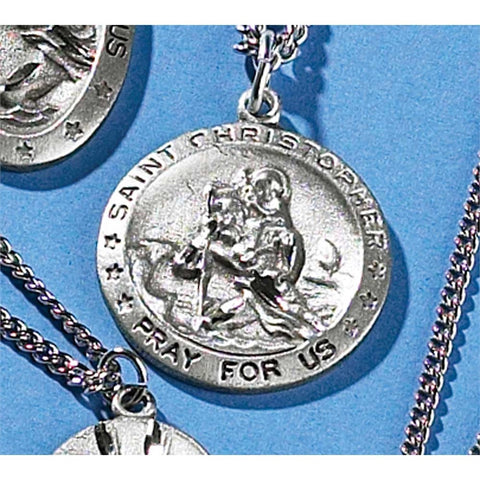 Saint Christopher - Pray For Us - Engraved 24 Inch Pewter Necklace