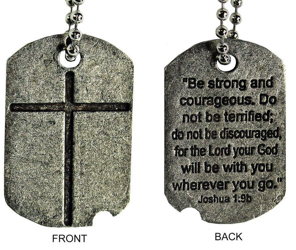 Joshua 1:9b Cross Engraved 21 Inch Pewter Dog Tag Necklace