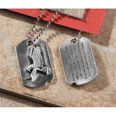 Eagle Engraved 21 Inch Pewter Dog Tag Necklace