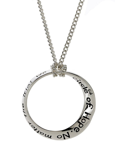 Circle of Hope Twist Pendant Silver Plated 18 Inch Necklace - The Nurse Place - 1