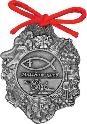 Matthew 19:26 With God All Things Are Possible Christmas Ornament