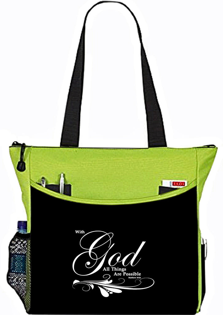 Matthew 19:26 With God All things Are Possible Lime Christian Bible Cover Tote Bag
