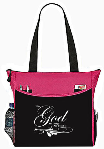 Matthew 19:26 With God All things Are Possible Bible Cover Tote Bag - The Nurse Place - 2