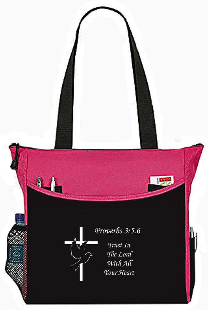 Proverbs 3:5:.6 Trust In The Lord Pink Dove Cross Christian Bible Cover Tote Bag