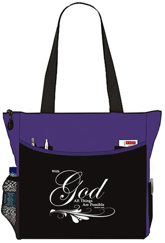 Matthew 19:26 With God All things Are Possible Bible Cover Tote Bag - The Nurse Place - 1