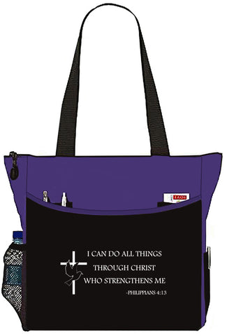 Philippians 4:13 I Can Do All Things Christian Bible Cover Tote Bag - The Nurse Place - 1