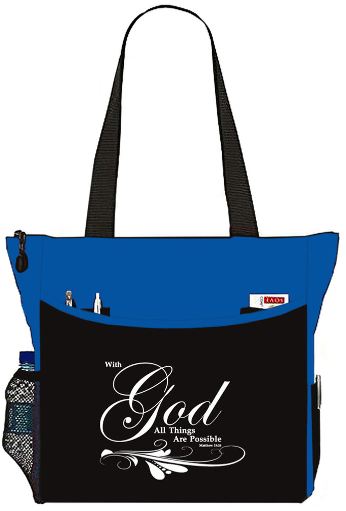 Matthew 19:26 With God All things Are Possible Bible Cover Tote Bag - The Nurse Place - 3