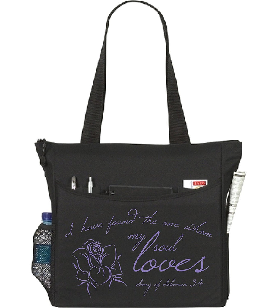 Song of Solomon 3:4 I Have Found The One My Soul Loves Christian Bible Cover Tote Bag