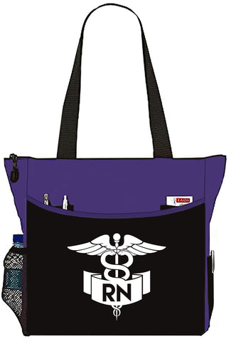 Purple Nurse Bag with RN Banner Caduceus Tote Handbag - Great Gifts For Nurses