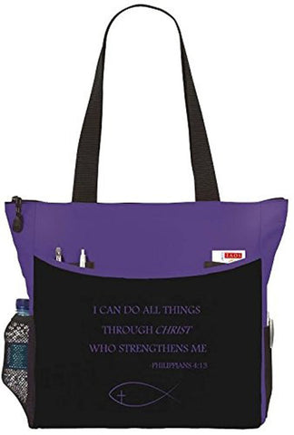 Philippians 4:13 I Can Do All Things Purple Fish Cross Christian Bible Cover Tote Bag