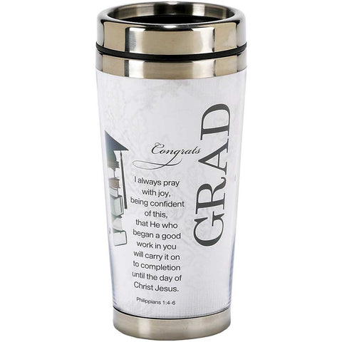 Congrats Grad Philippians 1:4-6 Stainless Steel Coffee Cup - Travel Mug